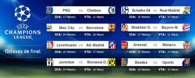 Definidos los octavos de final de la Champions League ...