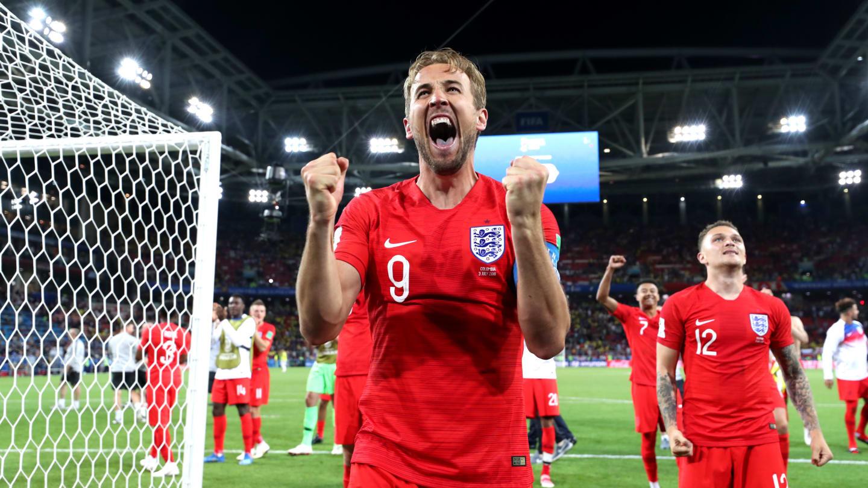 Festejo del cuadro inglés tras ganarle a Colombia
