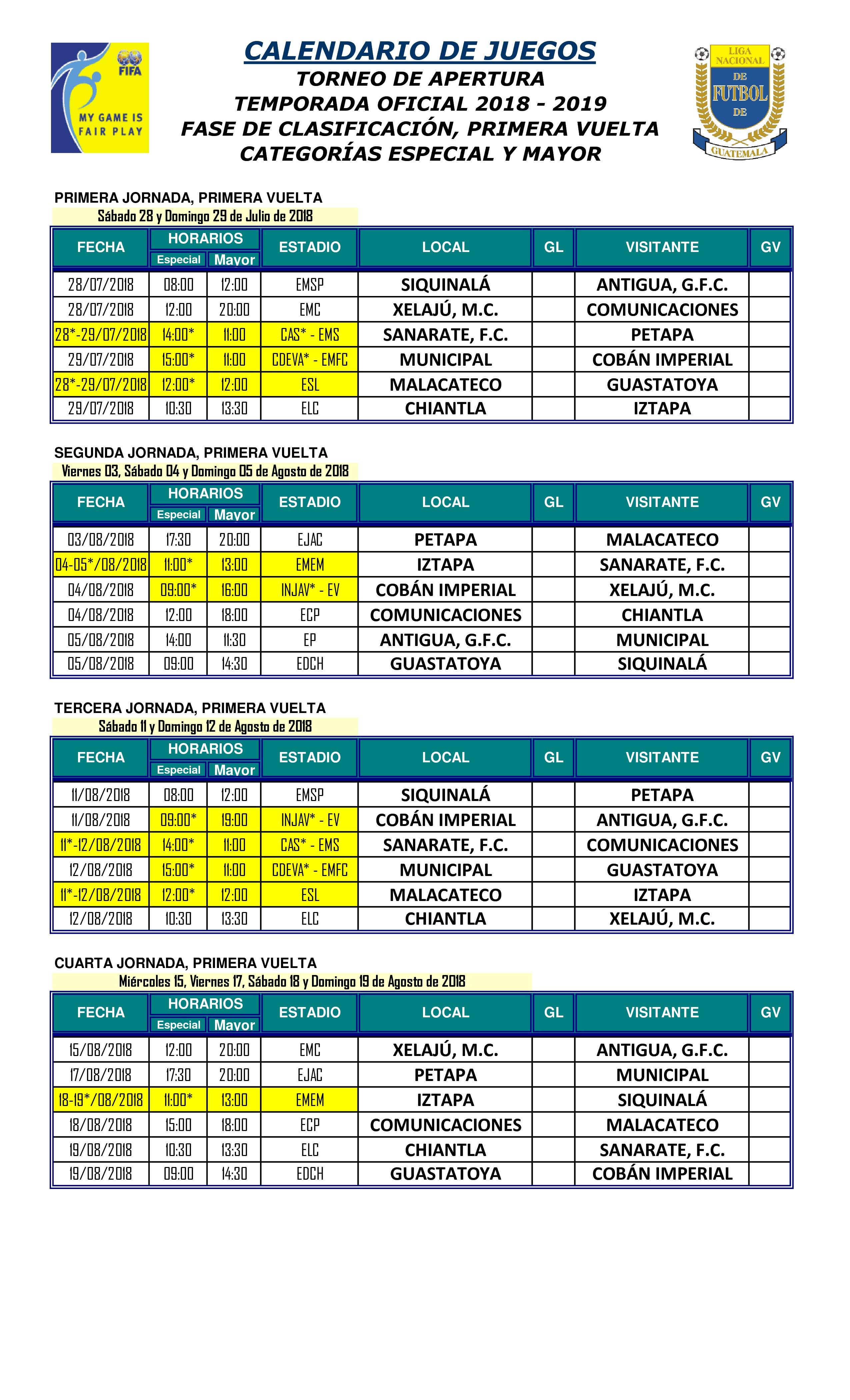 diseño de calidad el precio se mantiene estable como serch Calendario completode la Liga Nacional – Antorcha Deportiva ...