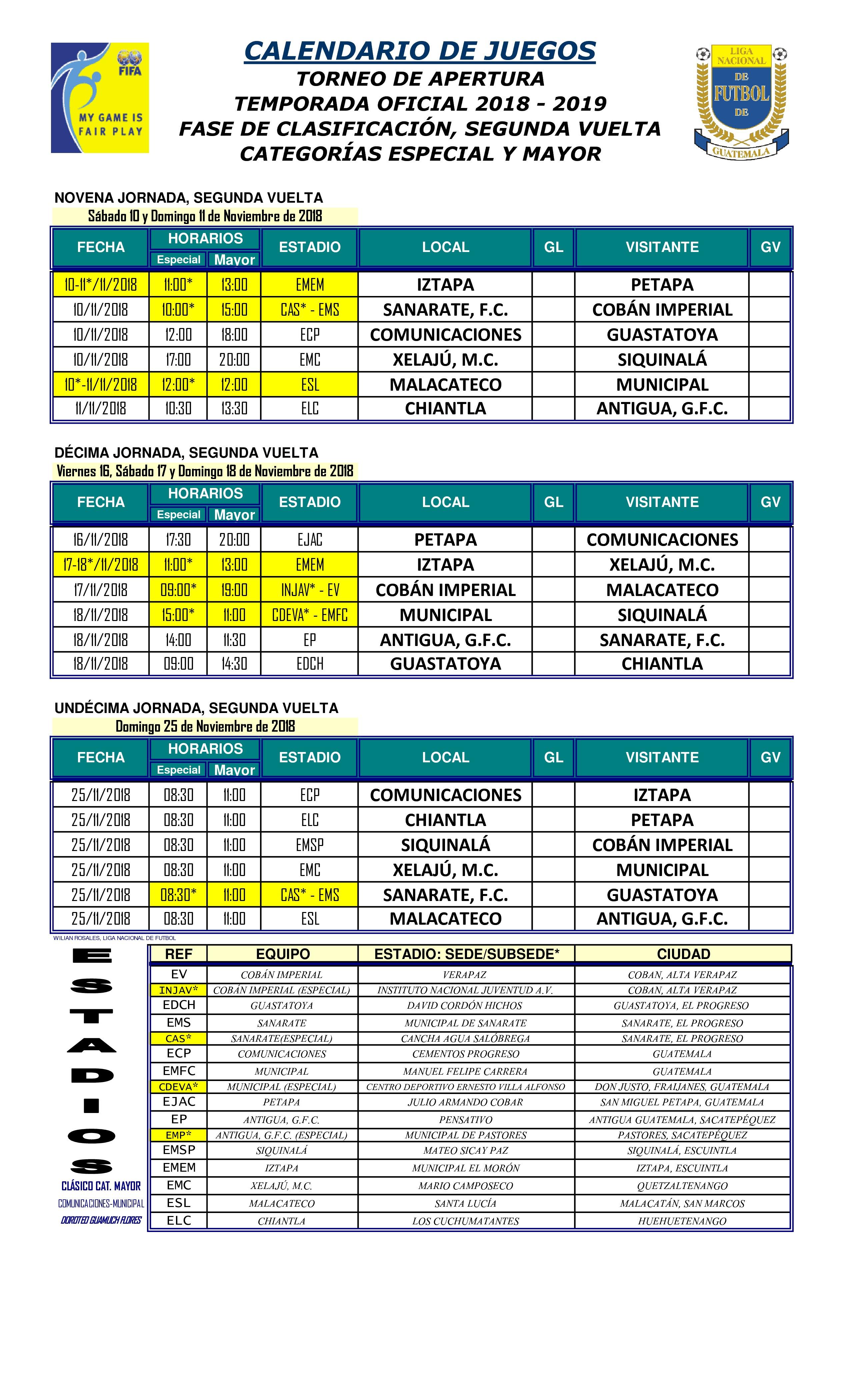 Calendario Liga Segunda.Calendario Completode La Liga Nacional Antorcha Deportiva