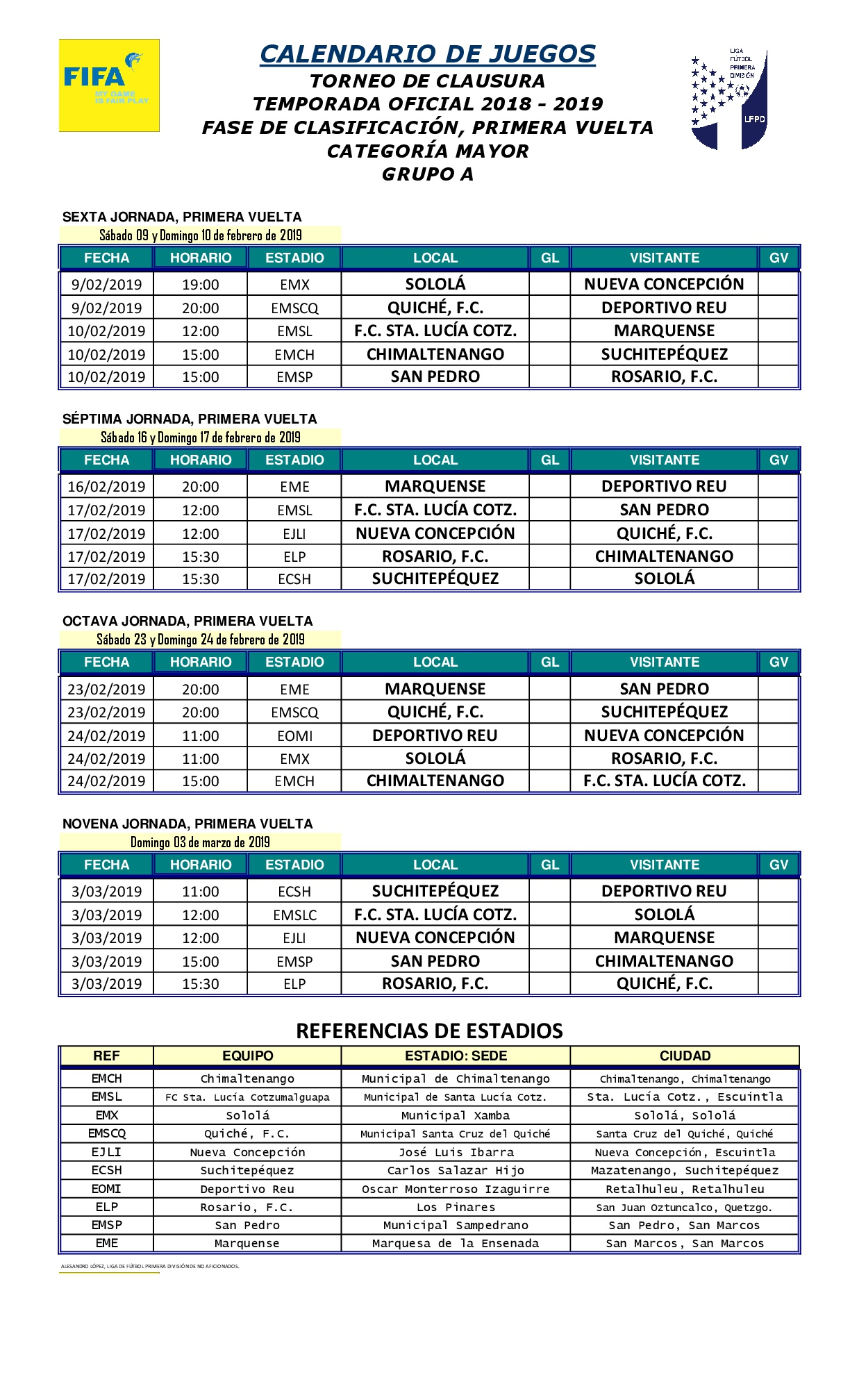 Santa Lucia Calendario.Este Es El Calendario Completo De La Primera Division