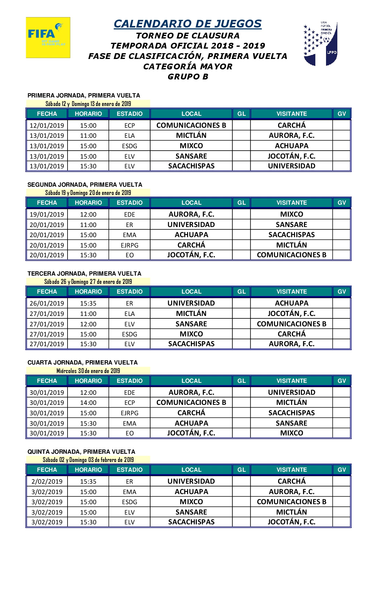 Calendario Primera Division Futbol Guatemala 2019.2 Calendario De Juegos Clausura T O 2018 2019 Grupo B 001
