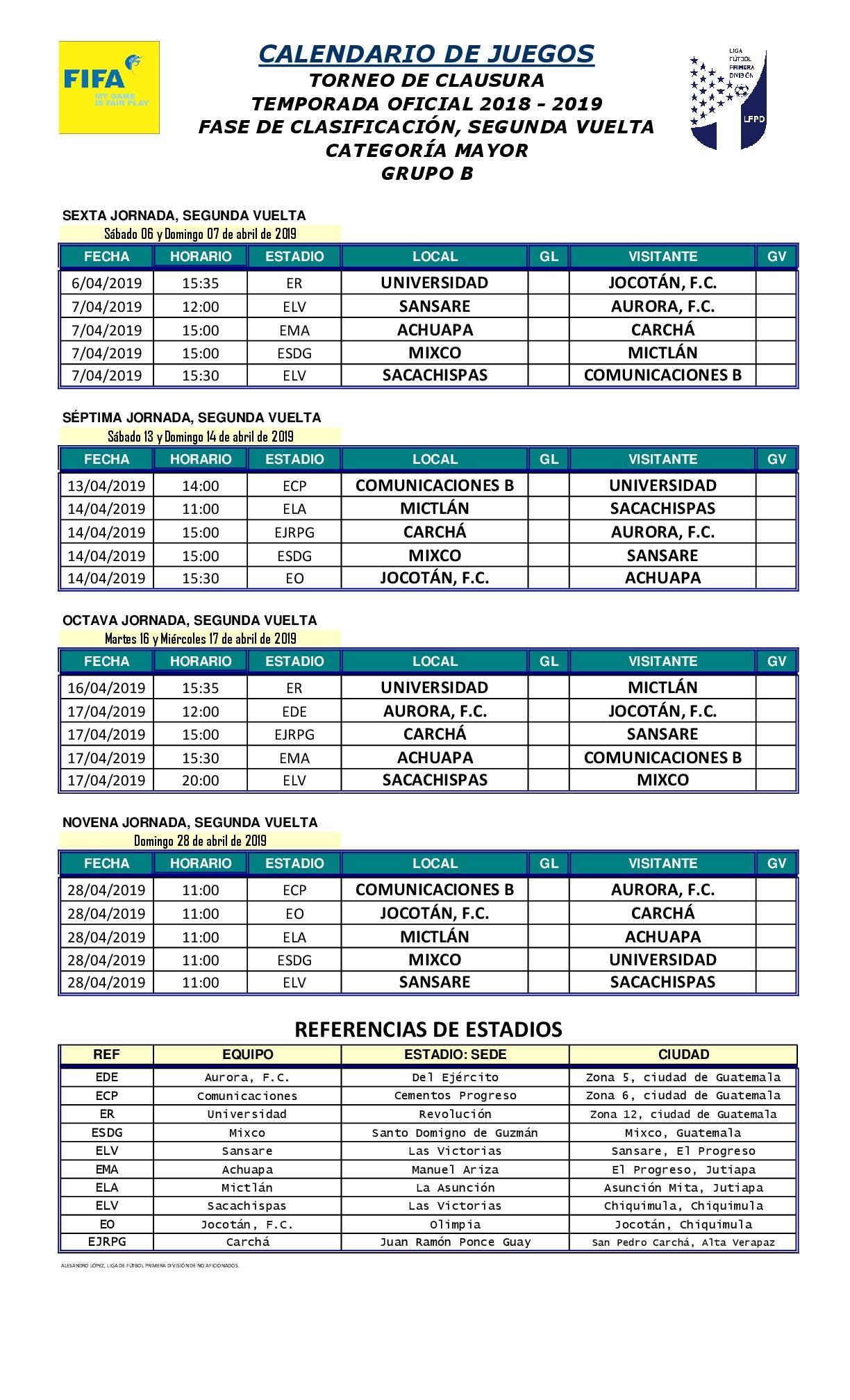 Calendario De Segunda Division De Futbol.2 Calendario De Juegos Clausura T O 2018 2019 Grupo B 004